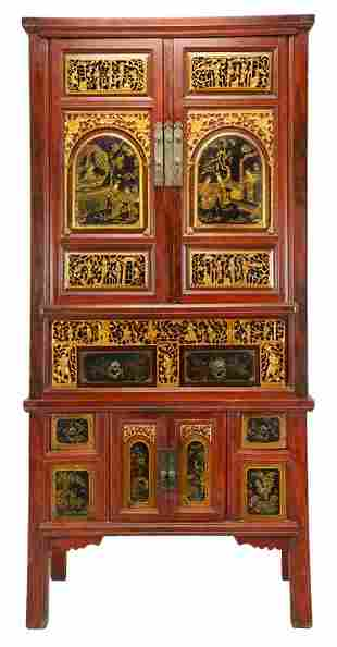 A CHINESE RED LACQUER AND PARCEL GILT CABINET ON CABINE