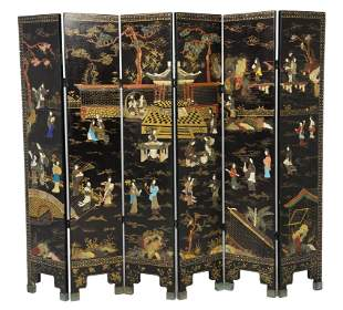 A CHINESE ANTIQUE BACK LACQUER AND STONE INLAID SIX PAN