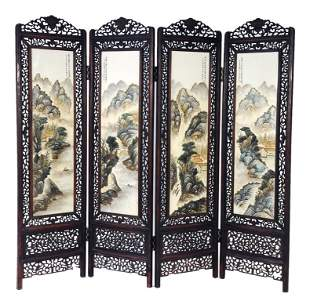 AN ANTIQUE CHINESE FOUR PANEL PORCELAIN SCREEN Late Qin