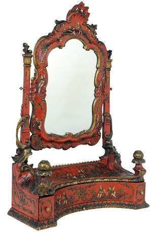AN ANTIQUE CONTINENTAL ROCOCO STYLE RED LACQUER AND PAR