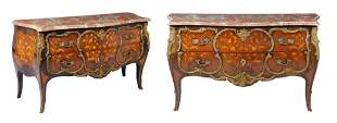 A PAIR OF LOUIS XV STYLE TULIP WOOD INLAID COMMODES WIT