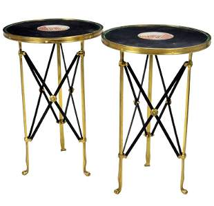A PAIR OF NEOCLASSICAL STYLE BRONZE CAMPAIGN STYLE TABL