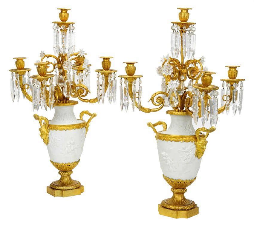 A FINE PAIR OF LOUIS XVI STYLE BISQUE AND BRONZE DORE F