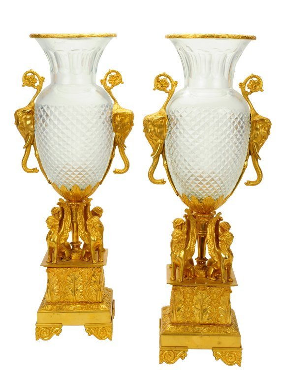 A PAIR OF EMPIRE STYLE BRONZE DORE AND CUT CRYSTAL URNS