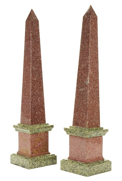 A PAIR OF ITALIAN GRAND TOUR STYLE MARBLE OBELISKS 20th
