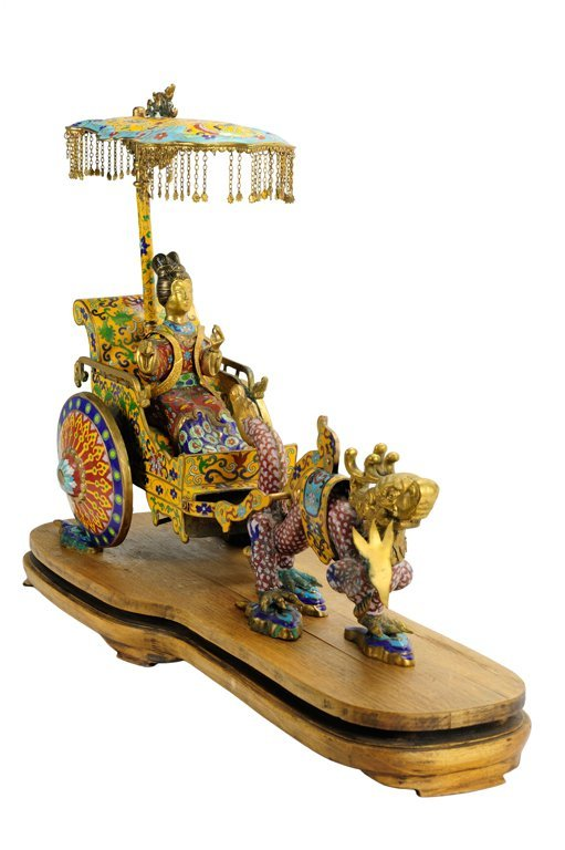 A CHINESE CLOISONNÉ CHARIOT ON WOODEN BASE Mid 20th Cen