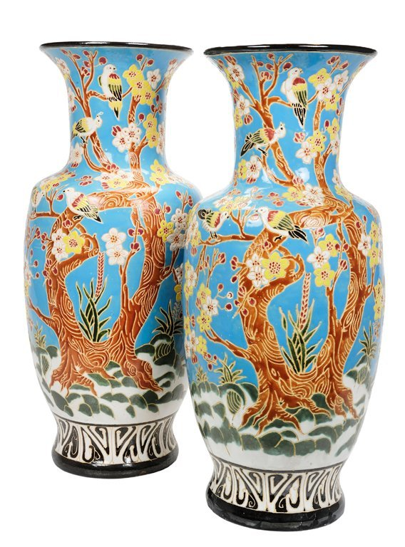 A LARGE PAIR OF FAIENCE PORCELAIN URNS Circa 1940 Very