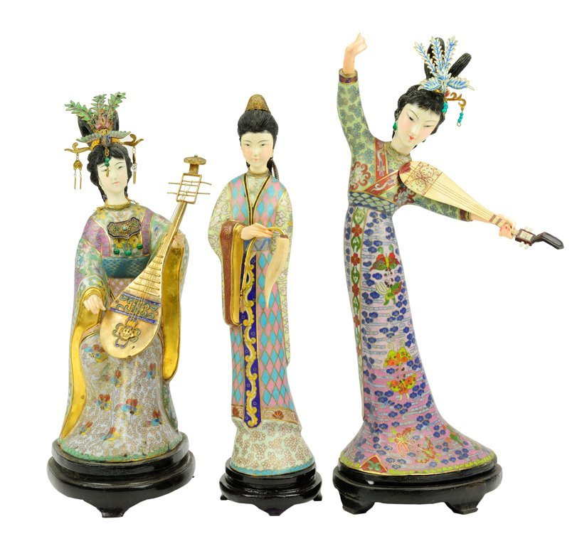 A LOT OF THREE CLOISONNÉ AND IVORY MAIDEN FIGURES 20th