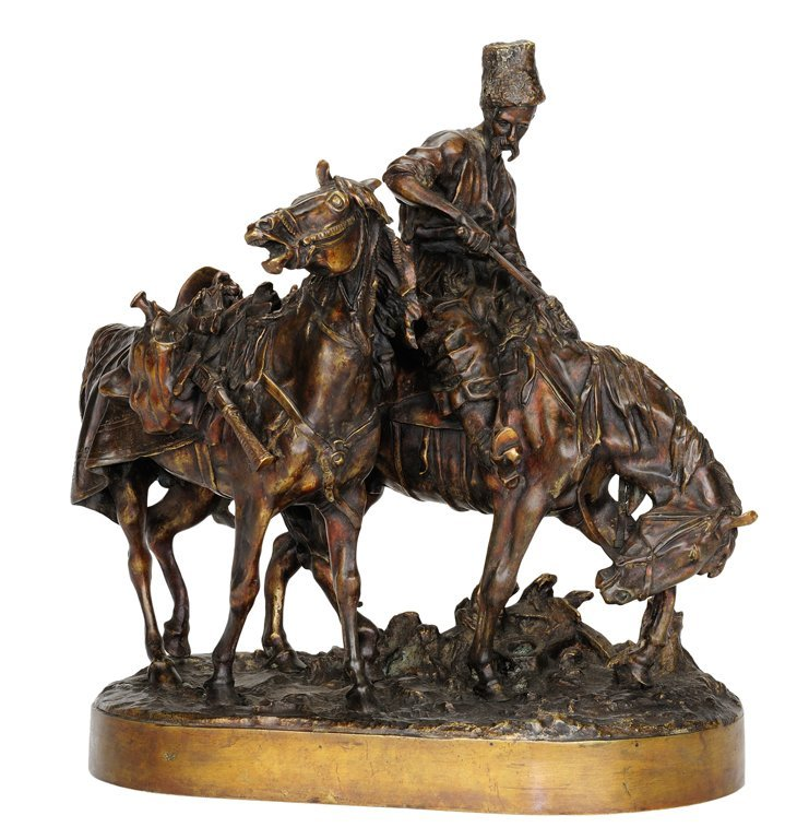 A PATINATED RUSSIAN THEMED BRONZE FIGURAL GROUP Early 2