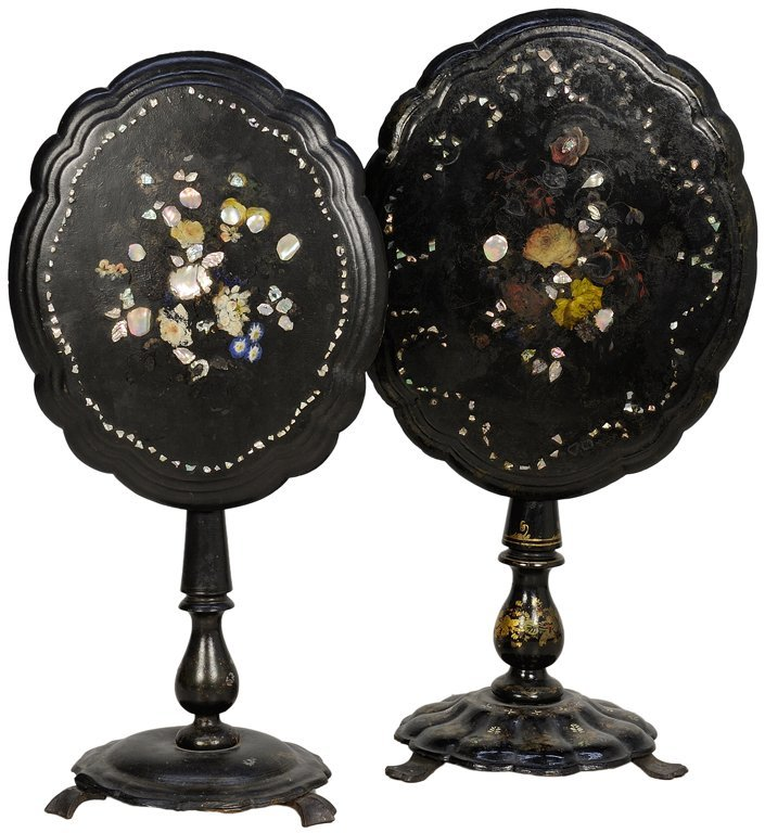 A PAIR OF CHARMING ANTIQUE VICTORIAN INLAID PAPIER MACH