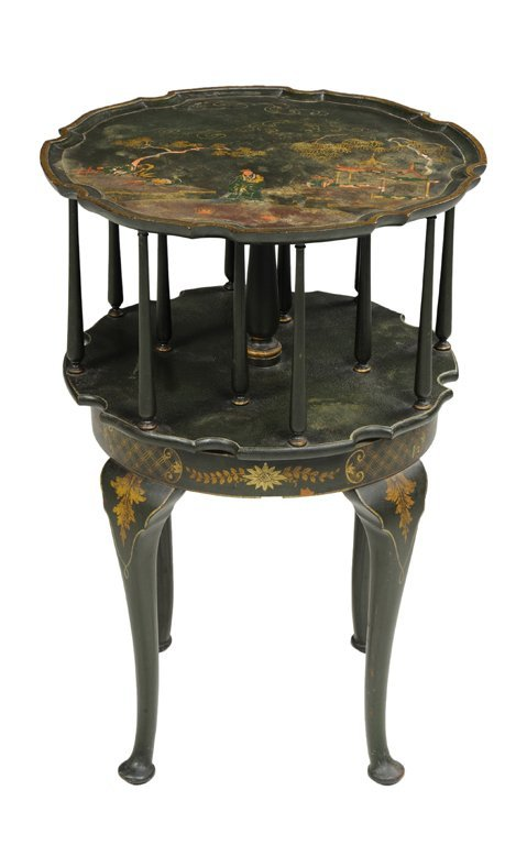 A ROUND PAINTED WOOD CHINOISERIE LIBRARY TABLE