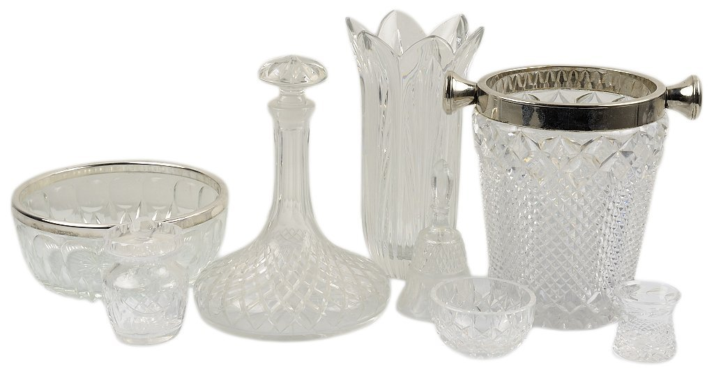 A BRILLIANT CUT CRYSTAL DECANTUR, WINE BUCKET AND ENTER