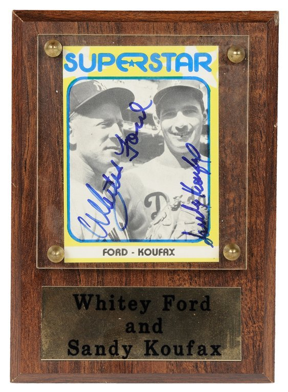 A DUAL AUTOGRAPHED WHITEY FORD AND SANDY KOUFAX SIGNED