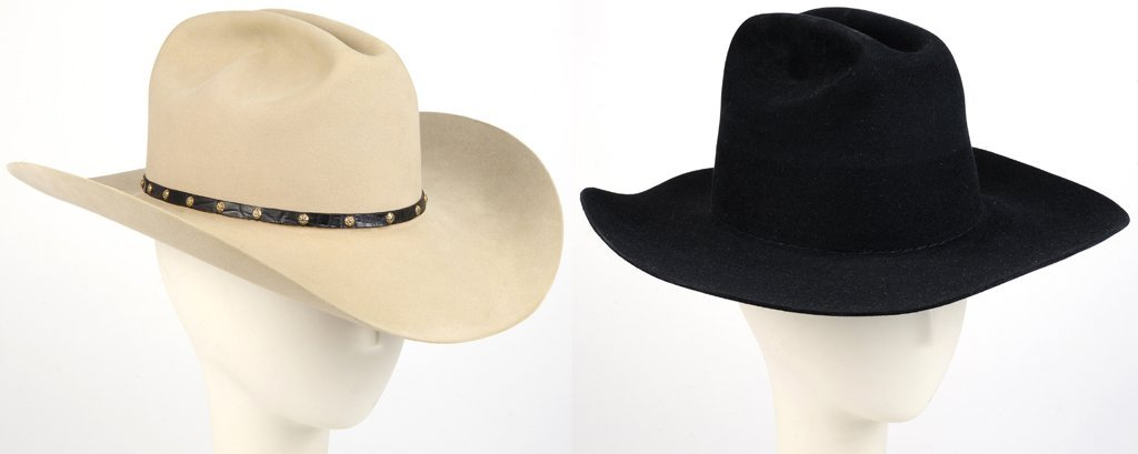 A PAIR OF VINTAGE COWBOY HATS INCLUDING A M.L. LEDDY'S