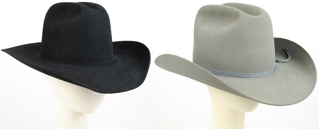 A PAIR OF RESISTOL COWBOY HATS WITH DOUBLE HAT BOX