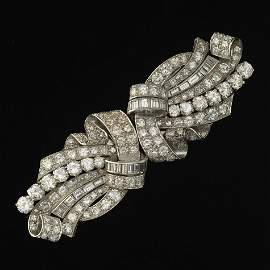 French Art Deco Platinum and Diamond Duette Brooch