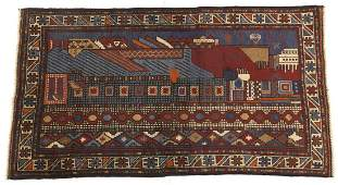 Very Fine Hand Knotted Pictorial Balouch Carpet