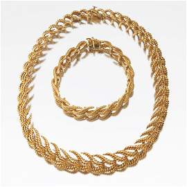 Tiffany & Co. Gold Necklace and Bracelet Suite, ca.