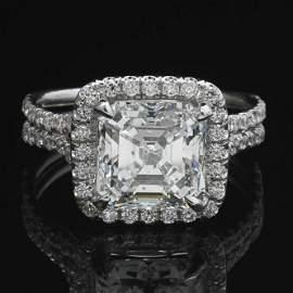 Ladies' Gold and 3.18 Ct. Diamond and Diamond Ring, GIA