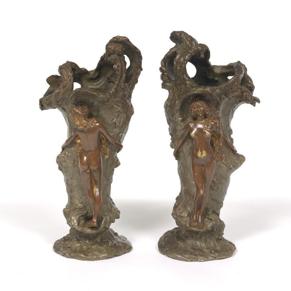 Pair of Carl Kauba Art Nouveau Bronze Vases