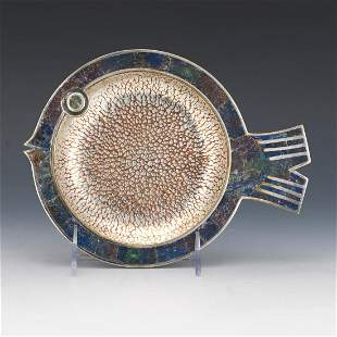 Taxco Los Castillos Silver Plated and Stone Mosaic Fish