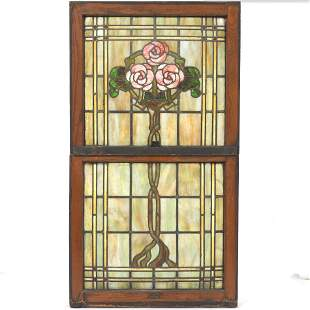 Two Art Nouveau Stained Glass Panels