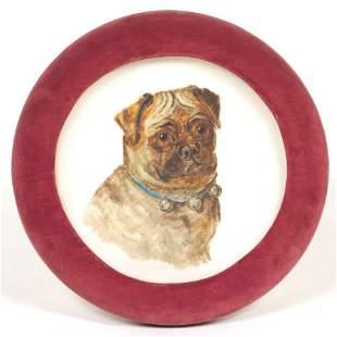 Victorian Bristol Glass Concave Plaque of Bulldog