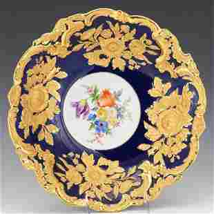 Meissen Porcelain Gold and Cobalt Blue Hand Painted