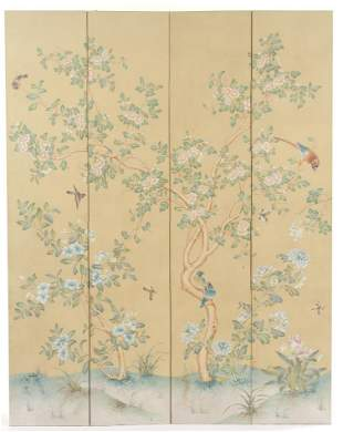 Charles Gracie Four-Panel Double-Sided Room Screen