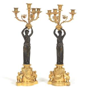 French Empire Pair of Gilt and Patinated Bronze Figural