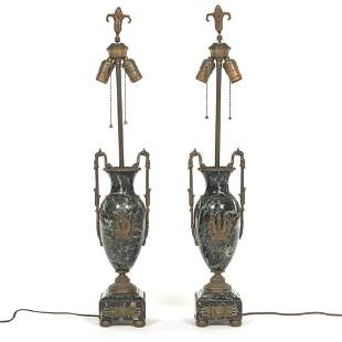 Pair of Neoclassical Marble and Silvered Bronze Lamp