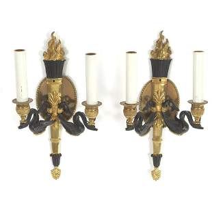 Pair of French Empire Style Bronze/Brass and Blackened