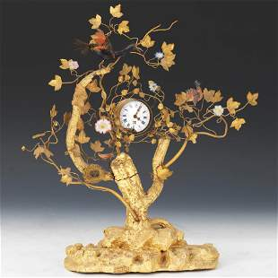 18/19th Century Gilt Wood Fusee Calendar Clock,