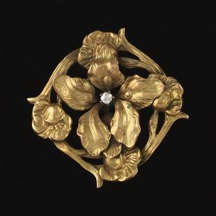 Art Nouveau Gold and Diamond Brooch