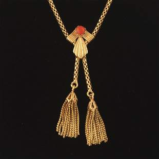 Victorian Gold and Coral Tassel Necklace