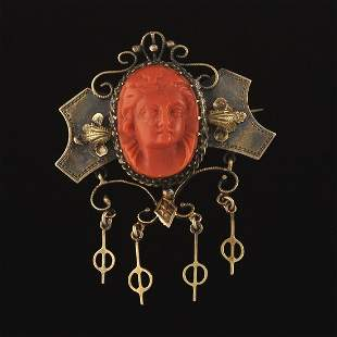 Victorian Coral and Gold Brooch