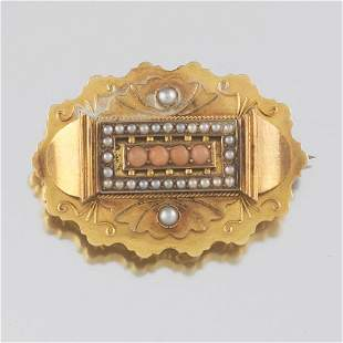 English Victorian 15k Gold, Pearl and Coral Brooch