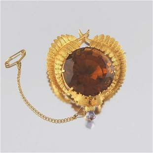 Scottish Citrine, Gold, and Amethyst Thistle Brooch