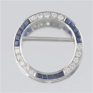 Art Deco Gold, Diamond and Synthetic Sapphire Circle