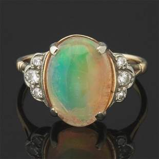 Ladies' Gold, Fine Opal and Diamond Ring
