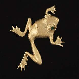 Ladies' Gold and Emerald Leaping Frog Brooch