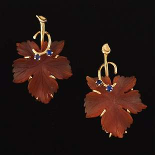Ladies' Pair of Gold, Carved Carnelian and Blue