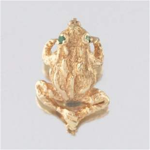 Ladies' Gold and Emerald Frog Pin/Brooch