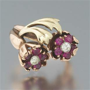 Ladies' Retro Gold, Ruby and Diamond Floral Ring