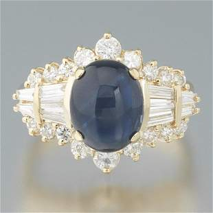Ladies' Gold, Blue Star Sapphire and Diamond Ring