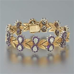 Ladies' Retro Gold, Diamond and Amethyst Bracelet