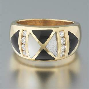 Ladies' Gold, Diamond, Black Onyx and Mother of Pearl