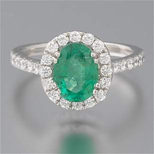 Ladies' Platinum, Emerald and Diamond Ring, AIGL Report