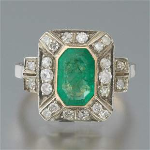 Ladies' Edwardian Gold, Emerald and Diamond Ring