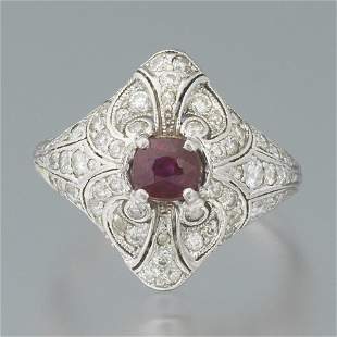 Ladies' Edwardian Platinum, Natural Fine Ruby and